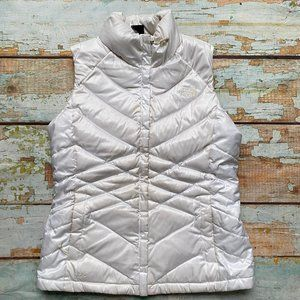 The North Face down puffer vest white size M